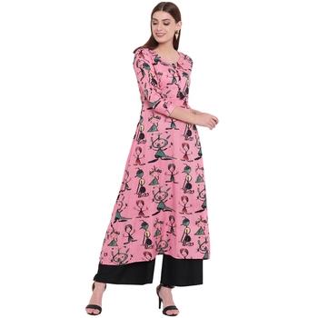 Pink printed rayon kurta