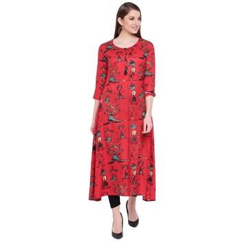 Red printed rayon kurta