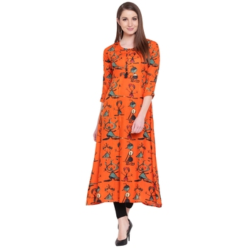 Orange printed rayon kurta