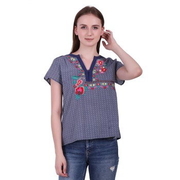 Blue Printed Cotton Top