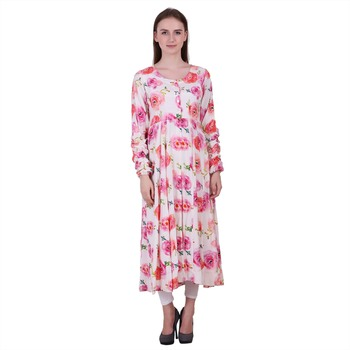 Multicolor Printed Viscose Ethnic Kurti