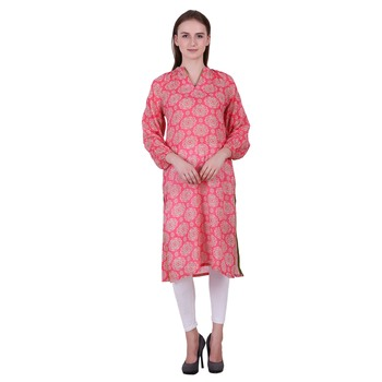 Pink Printed Cotton Ethnic Kurti