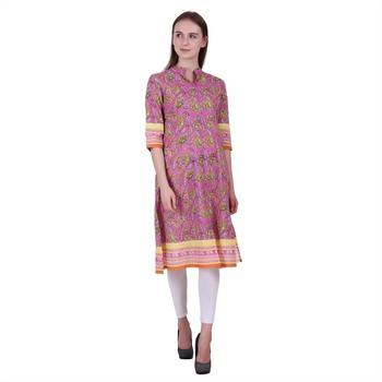 Multicolor Printed Cotton Ethnic Kurti