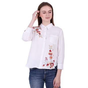 White Embroidered Rayon Cotton Top