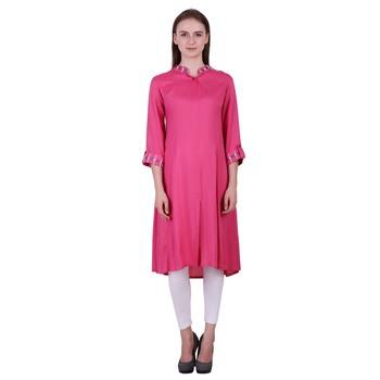Pink Plain Rayon Ethnic Kurti