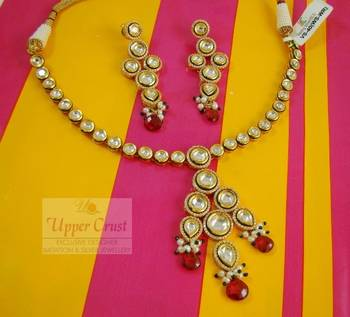 Sterling Silver Kundan Ruby Bridal Necklace Earring Jewellery Set