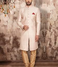 Beige plain art silk sherwani
