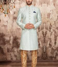 Turquoise plain art silk sherwani