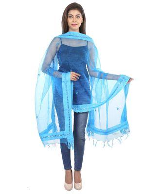 turquoise Self Designz Tissue Dupatta with Mirror Work