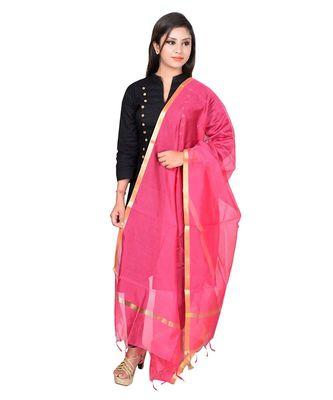 pink Cotton Chandei Dupatta With Zari Border