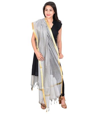 white Cotton Chandei Dupatta With Zari Border