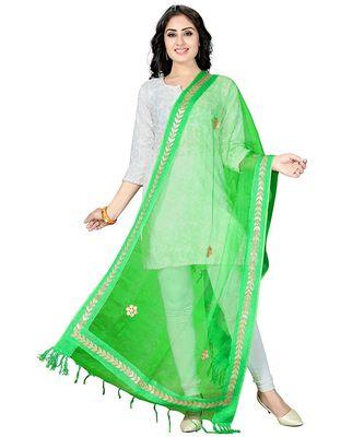 Green  Self Designz Tissue Dupatta with Gota Patti Work