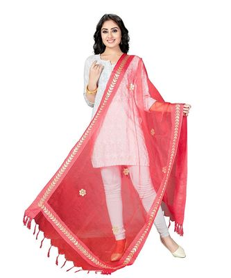 Red  Self Designz Tissue Dupatta with Gota Patti Work