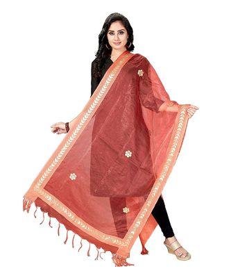 Peach  Self Designz Tissue Dupatta with Gota Patti Work