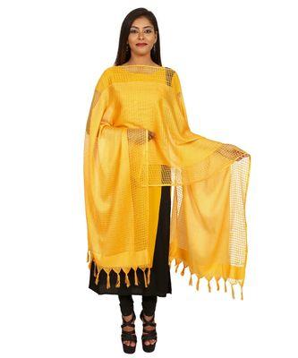 Yellow Self Designz Silk Dupatta