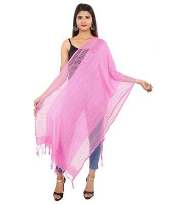 Pink  Self Designz Silk Dupatta