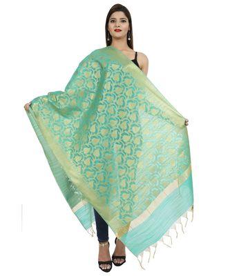 turquoise Banarasi Silk Booti & Jaal Dupatta