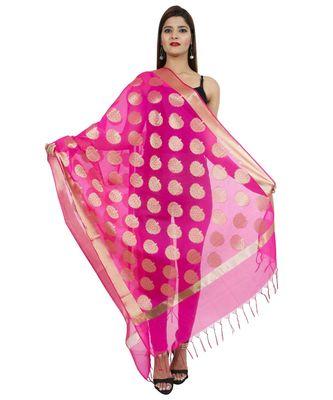 magenta Banarasi Silk Booti & Jaal Dupatta