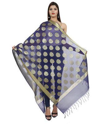 blue Banarasi Silk Booti & Jaal Dupatta