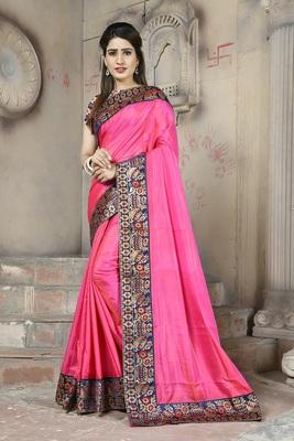 Pink plain paper cotton saree with blouse