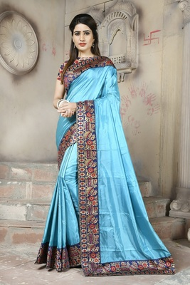 Sky blue plain paper cotton saree with blouse