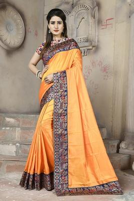 Orange plain paper cotton saree with blouse
