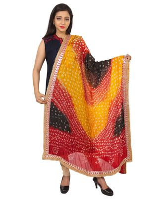 red Silk Bandhej Dupatta With Gotta Patti Border