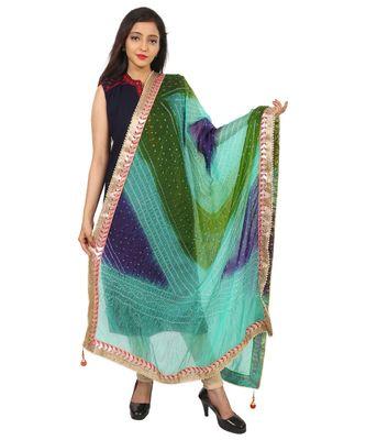 blue Silk Bandhej Dupatta With Gotta Patti Border