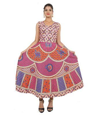 multicolor Cotton Jaipuri (Bagru) Printed kurti's For Women's