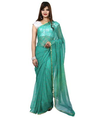 Turquoise Blue plain chiffon saree with blouse