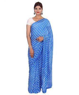 Sky Blue Laheria plain chiffon saree with blouse