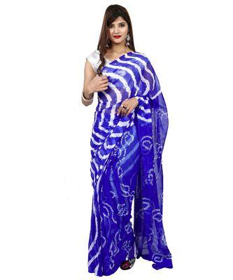Royal Blue plain chiffon saree with blouse