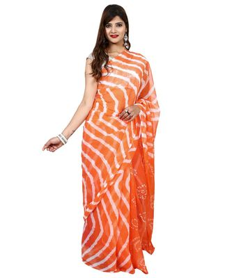Orange Colour plain chiffon saree with blouse