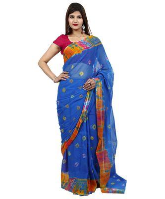 Blue Colour plain chiffon saree with blouse