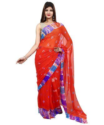 Orange Colour plain chiffon saree with blouse