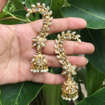 Gold Stone Studded Ear Cuff Jhumkas