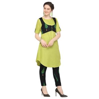 Light-green printed polyester party-wear-kurtis