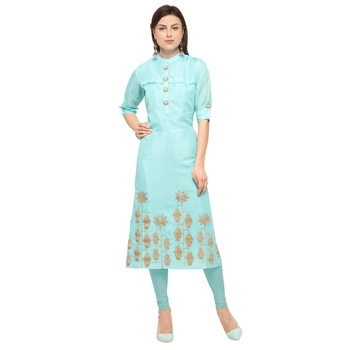 Light-blue embroidered viscose party-wear-kurtis