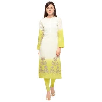 Beige embroidered cotton party-wear-kurtis