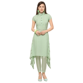 Light-green embroidered viscose party-wear-kurtis