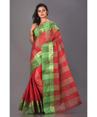 red plain Cotton saree