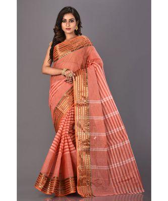 orange plain Cotton saree