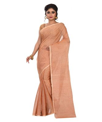 beige plain Cotton saree
