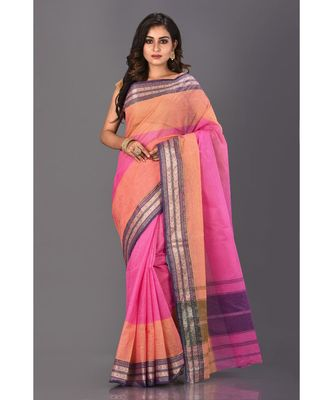 multicolor plain Cotton saree