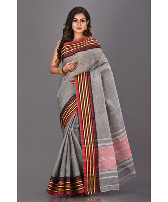 grey plain Cotton saree