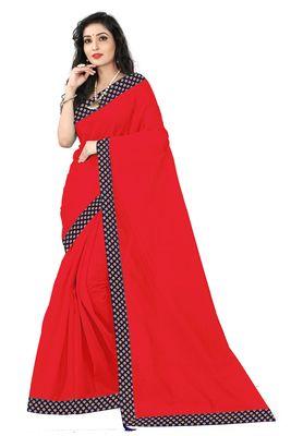 red plain art silk saree with blouse