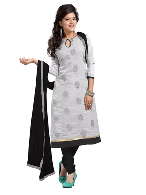 Grey Chanderi Cotton Embroidered Unstitched Dress Material