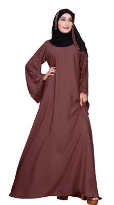 Justkartit Women'S Beads Work Casual Wear Nida Plain Abaya Burka With Hijab Scarf