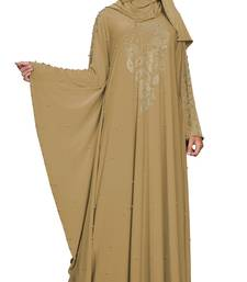 Justkartit Women's  Kaftan Style Beads Work Umbrella Lycra Abaya Burqa with Hijab