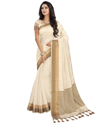 Off white printed tussar silk saree with blouse
